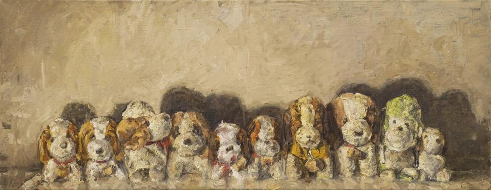 Gruppenbild Bernhardiner, 2009 Öl auf Leinwand, 115x45cm