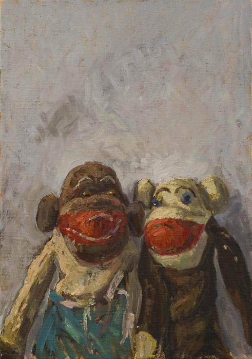 Strickaffen, 2007, Öl auf Leinwand, 35x50cm